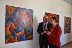 """Vernissage der Ausstellung """"Kunst in Kamerun"""" in der Stadtverwaltung Worms, 2.5.2016, OB Michael Kissel"""
