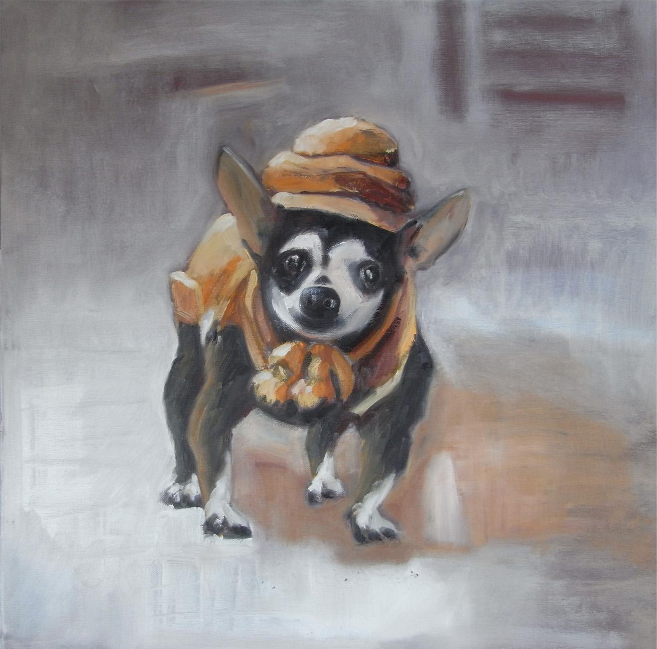 Kleiner Hund im Winter